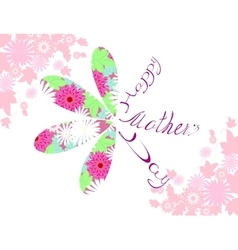 Happy Mothers typographical background with flower vector image