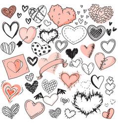heart sketches doodle heart shape symbols set vector image