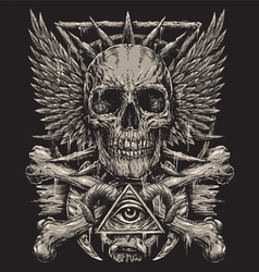 Heavy Metal inspired Skull Design vector