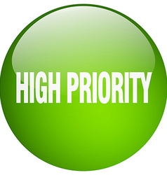 High priority green round gel isolated push button vector