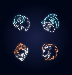 Horoscope signs neon light icons set vector