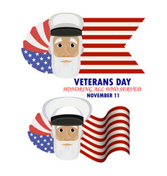 Inscription veterans day honoring all who served vector