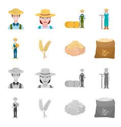 Isolated object farm and arable logo set vector