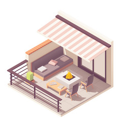 Isometric balcony with outdoor furniture vector