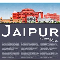 Jaipur Skyline with Color Landmarks Blue Sky vector