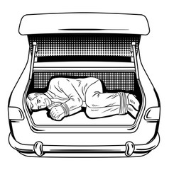 Kidnapped man in car trunk coloring book vector