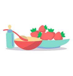 kids healthy ration flat concept vector image