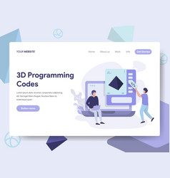 landing page template of 3d programming codes vector image