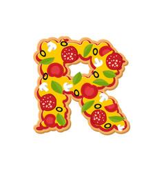 Letter r pizza font italian meal alphabet vector