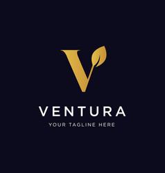 letter v leaf logo design inspiration vector image