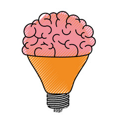 light bulb with brain in top in colored crayon vector image