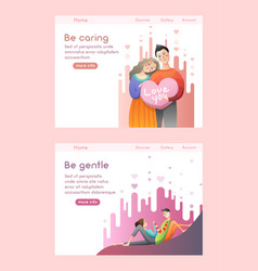 lovely couple hold big heart and hug each other vector image