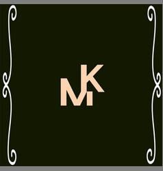 m k letter logo emblem design vector image