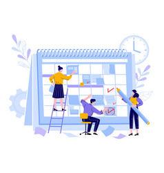 Managers team organize project calendar vector