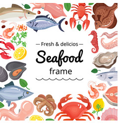 Marine products frame background vector