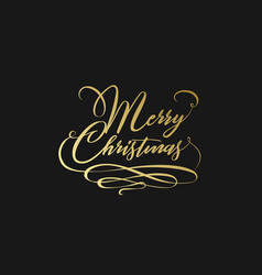 merry christmas hand lettering in gold isolated on vector image