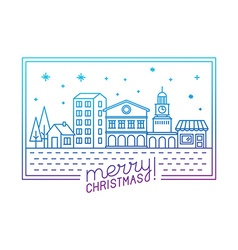 Merry christmas hand lettering in outline style vector