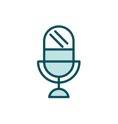 microphone audio social media line and fill vector image