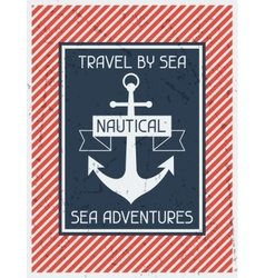 Nautical Retro poster in flat design style vector image