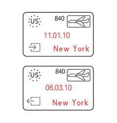 new york usa passport stamps arrival and vector image