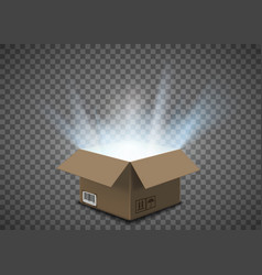 Open empty cardboard box with a glow inside vector