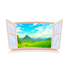 open window view from wooden window on vector image