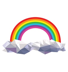 origami clouds with rainbow vector image