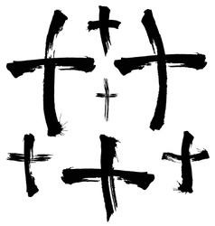 Painted crosses vector