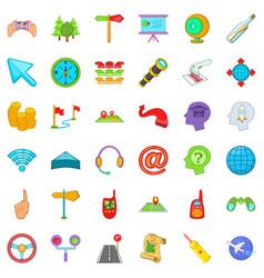 Pathway icons set cartoon style vector