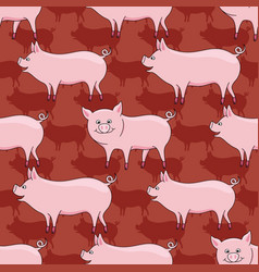 pattern with cute pigs on a red background vector image