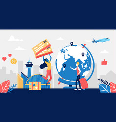 people travel plane tourism concept with happy vector image