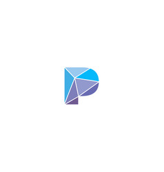 Polygonal trend letter p logotype color vector
