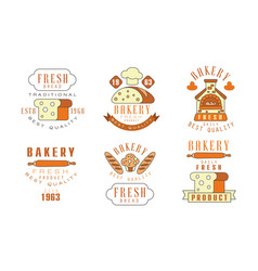 premium bakery logo design collection daily fresh vector image