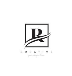 r letter logo design with square swoosh border vector image