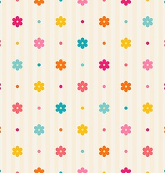 Retro seamless pattern Color flowers and dots vector