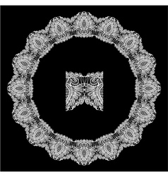 Round Frame - floral lace ornament - white on blac vector
