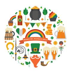 saint patrick day symbols in circle print vector image