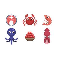 seafood market assortiment set freshness sea vector image