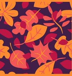seamless pattern with autumn leaves creative vector image