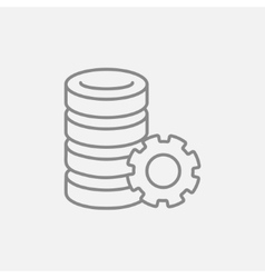 Server with gear line icon vector image