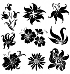 set of black flower design elements set vector image