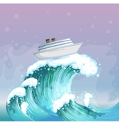 Ship riding Wave vector image