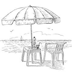 Sketch of a beach umbrella on the seashore vector