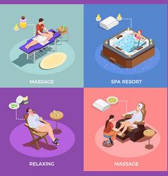spa salon isometric design concept vector image