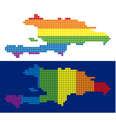 spectrum pixel dotted haiti and dominican republic vector image