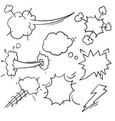 speed hand drawn fast motion clouds smoke blast vector image