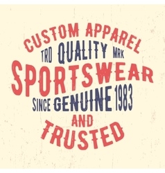 Sportswear vintage stamp vector image