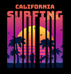 summer tropical text california surfing with vector image