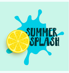 Summer water splash with lemon background vector