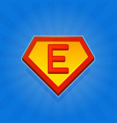 Superhero logo icon with letter e on blue vector